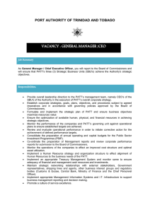vacancy : general manager /ceo - Port Authority of Trinidad and