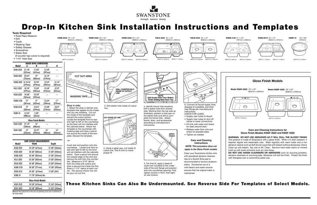 Drop In Kitchen Sink Installation Instructions And