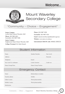 General Information 2015 - Mount Waverley Secondary College