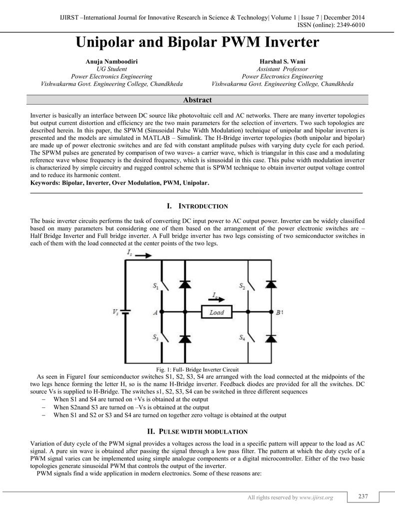 Unipolar And Bipolar Pwm Inverter Full Bridge Converter Schematic Diagram In Dc Conversion Circuit 018128249 1 8529123acf5ba385f5d07ccbe0ff30c7