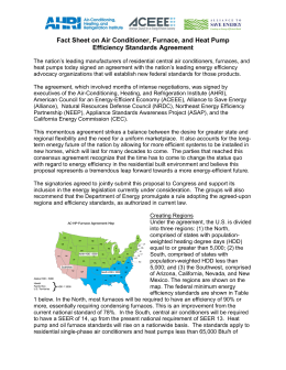 Fact Sheet on Air Conditioner, Furnace, and Heat Pump Efficiency