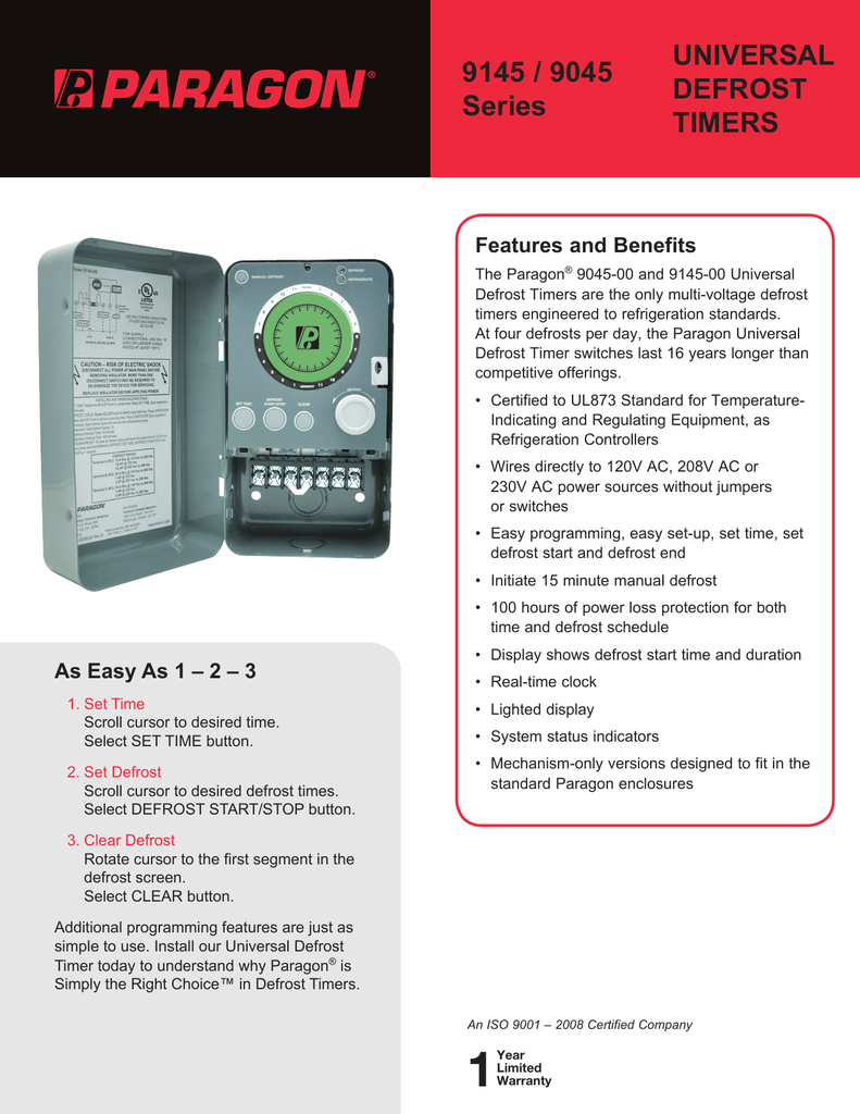 Paragon Defrost Timer 9145 Wiring Diagram Great Installation Of 8141 20 Universal Timers 9045 Series Rh Studylib Net Termination Switch Freezer 220v
