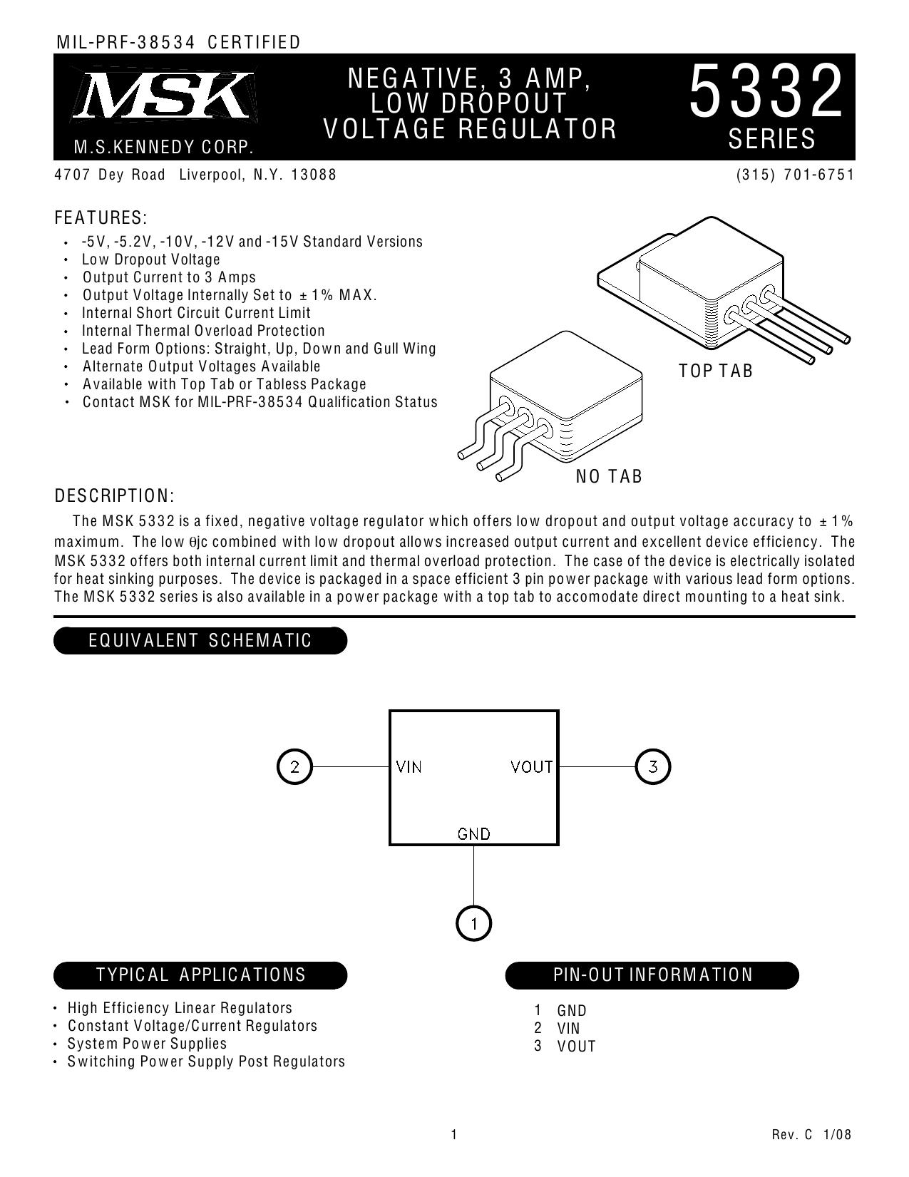 Msk 5332 Series Negative Low Dropout Voltage Regulator 5v Regulators Protector Circuit Diagram