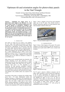 216: Optimum tilt and orientation angles for photovoltaic panels in