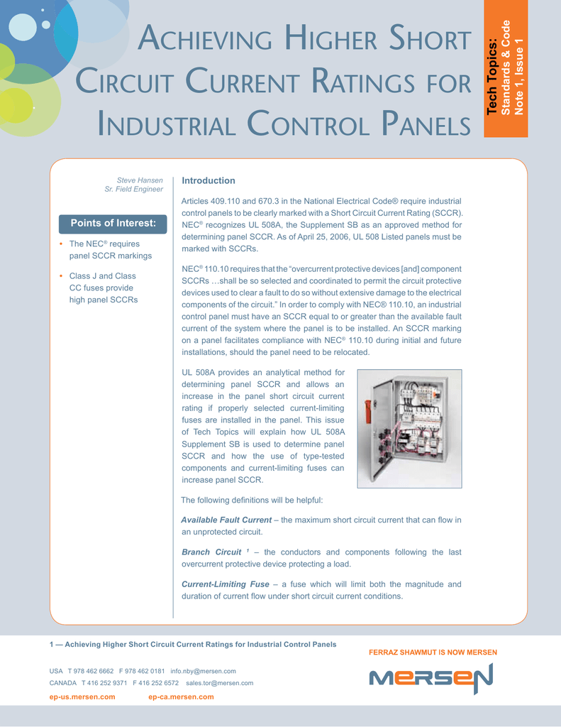 Achieving Higher Short Circuit Current Ratings For Industrial Limiting