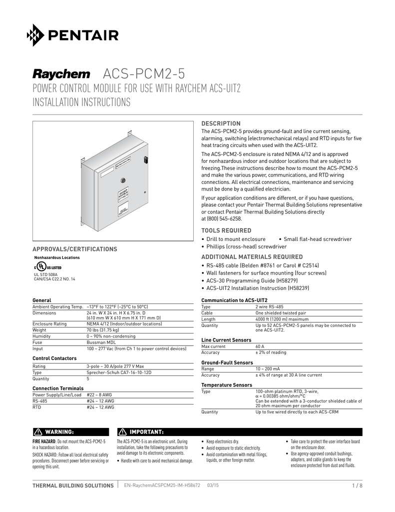 ACS-PCM2-5 Installation Manual