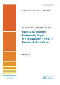 Checklist and Indicators - World Health Organization