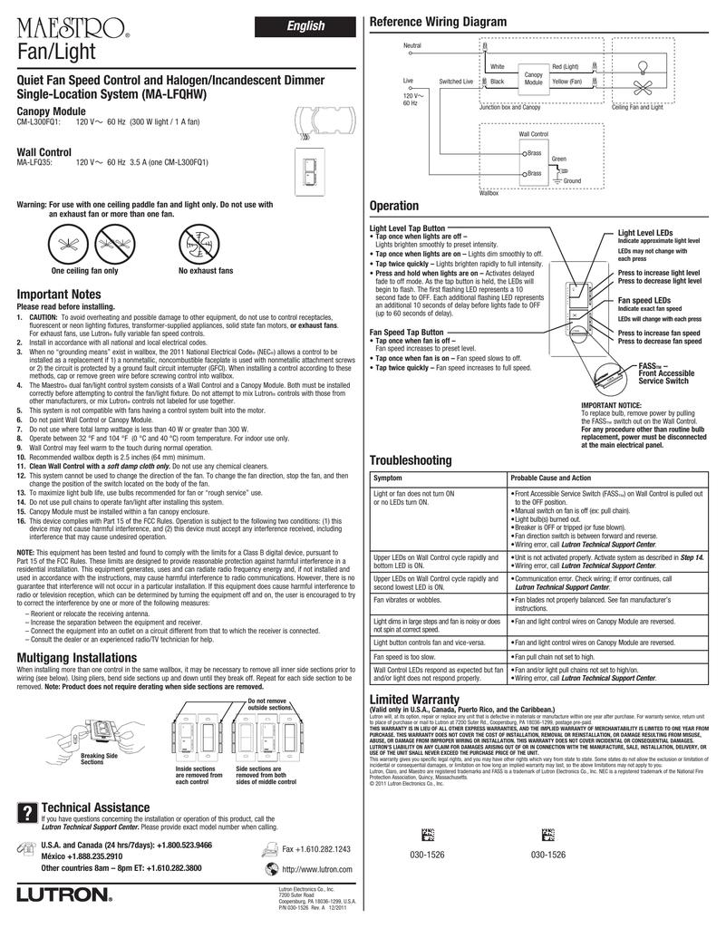 lutron maestro wiring diagram maestro quiet fan speed control and halogen incandescent  fan speed control and halogen incandescent