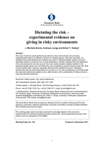 Dictating the risk- experimental evidence on giving in risky