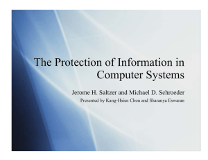 The Protection of Information in Computer Systems The Protection of