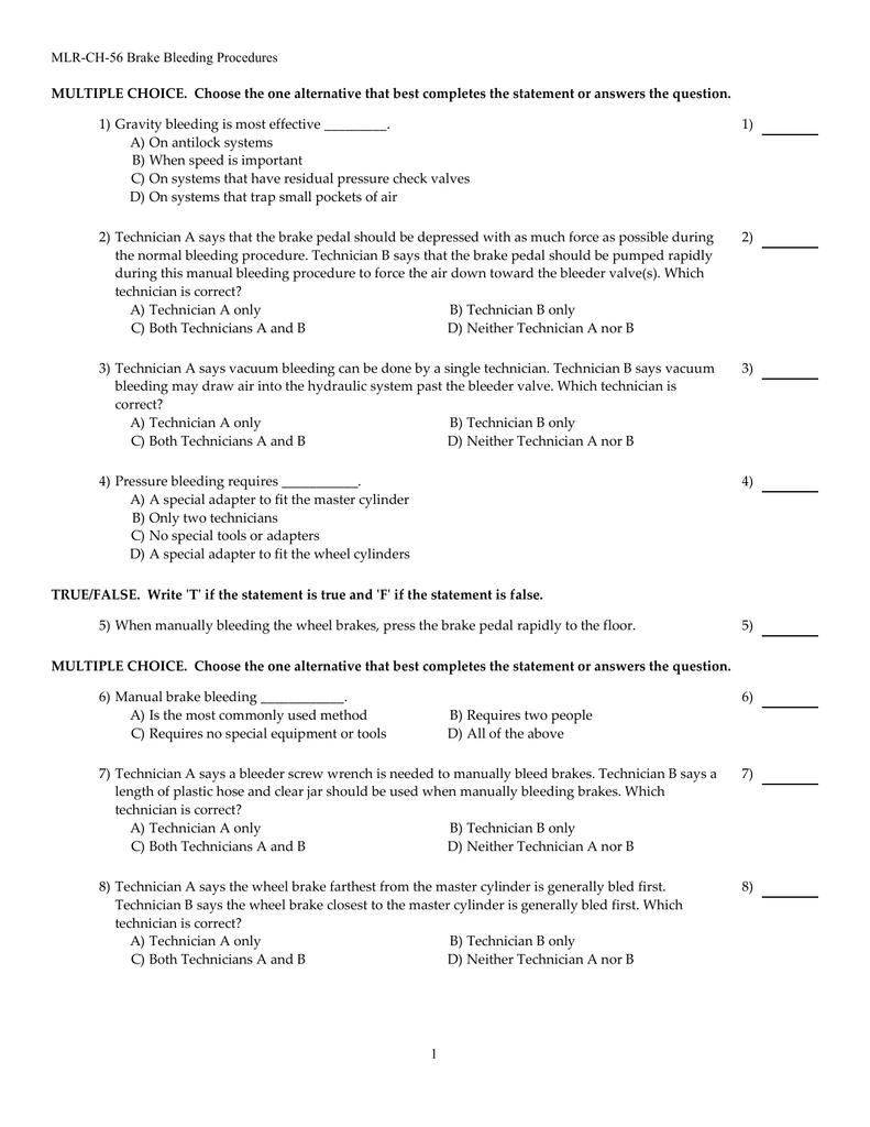 MLR-CH-56 Brake Bleeding Procedures MULTIPLE CHOICE