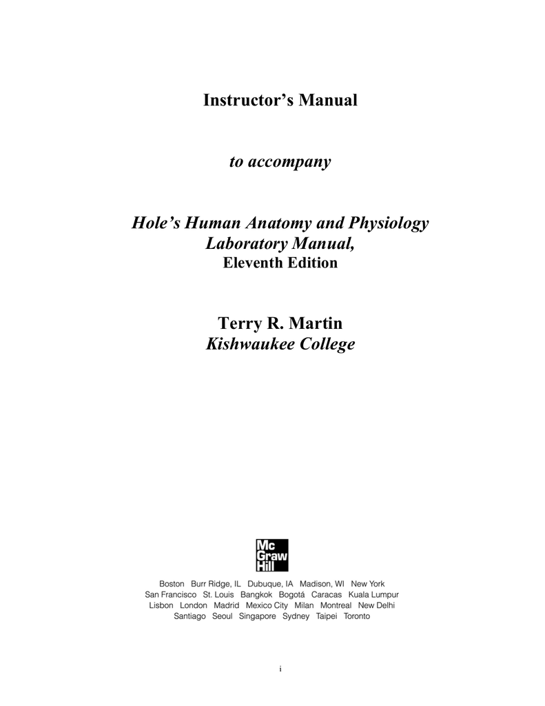 Instructor`s Manual to accompany Hole`s Human Anatomy and