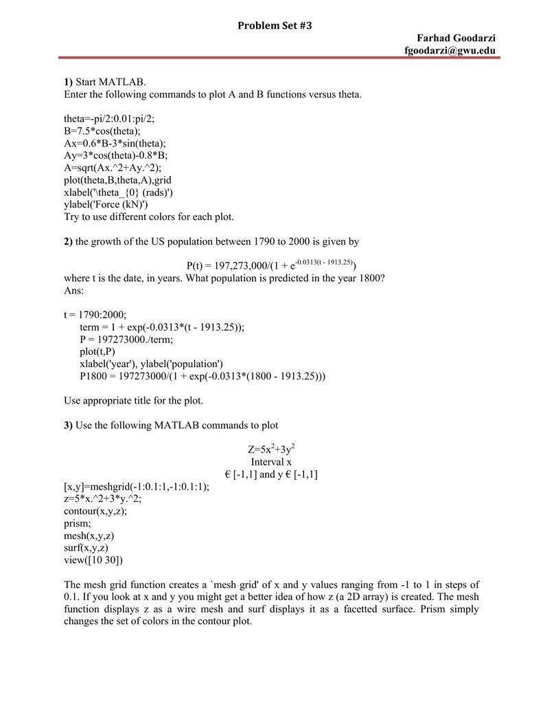 Problem Set #3 Farhad Goodarzi Page 1 of 1 1