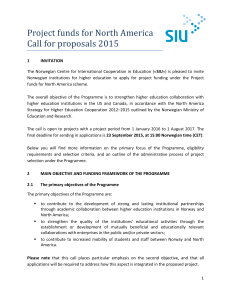 Project funds for North America Call for proposals 2015