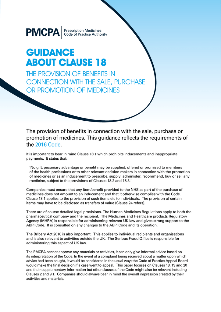 Guidance on Clause 18