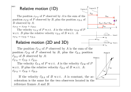 Relative motion (1D) Relative motion (2D and 3D)
