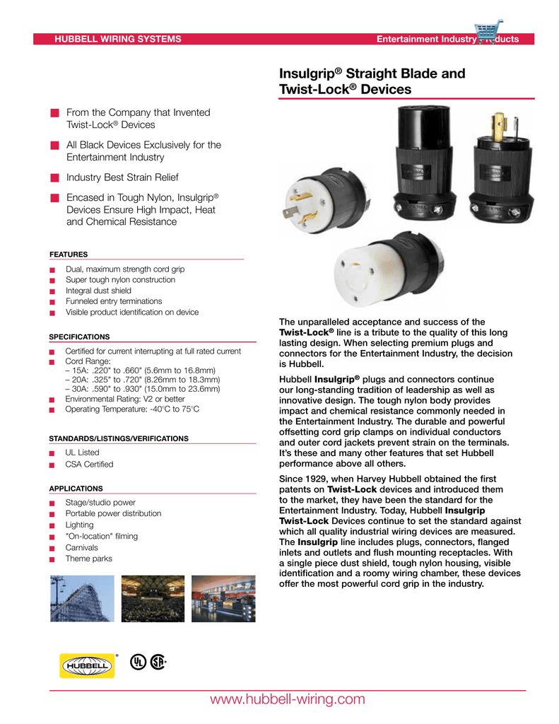 Insulgrip Straight Blade And Twist Lock Devices Hubbell Wiring Systems