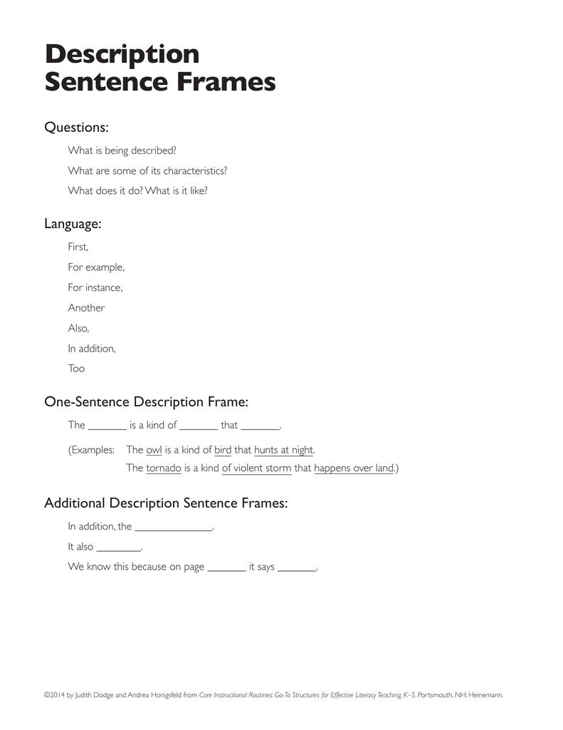 Description Sentence Frames