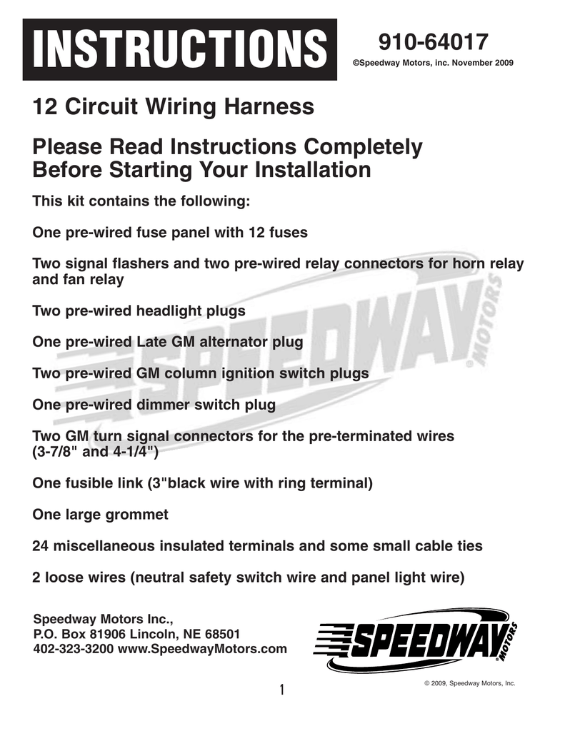12 Circuit Wiring Harness Diagram Electrical Schematics On Power Socket Outlet Ring Instructions Speedway Motors Painless Wire
