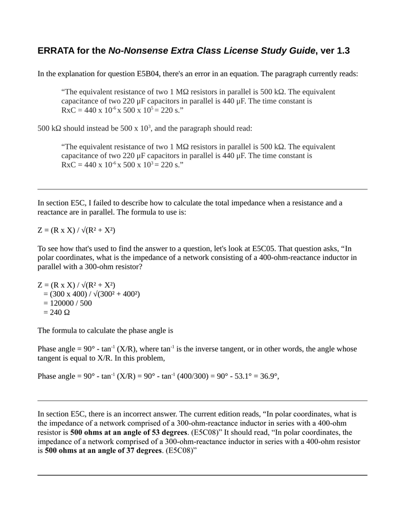 ERRATA for the No-Nonsense Extra Class License Study Guide, ver