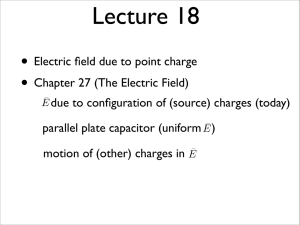 • Electric field due to point charge • Chapter 27 (The Electric Field