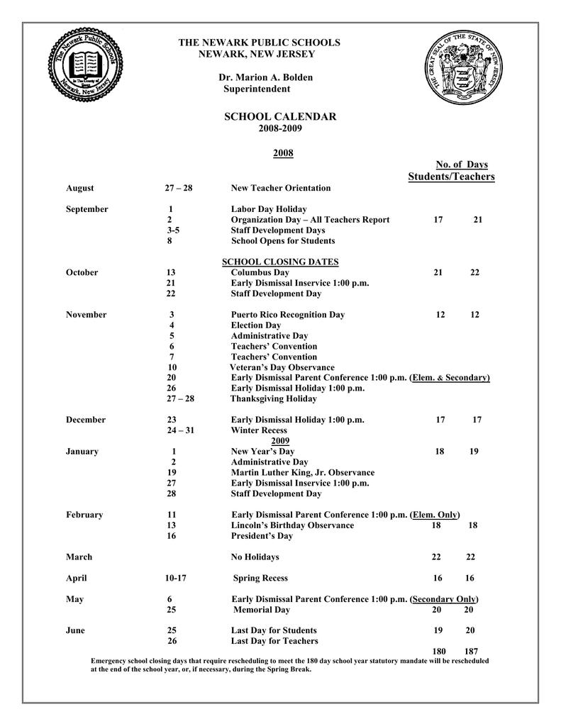 Newark Public Schools Calendar THE NEWARK PUBLIC SCHOOLS