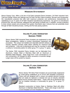 Mission Statement Inline Flame Arrester Series