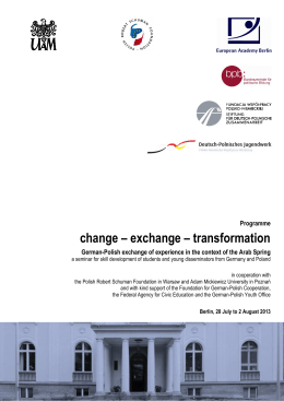 change – exchange – transformation