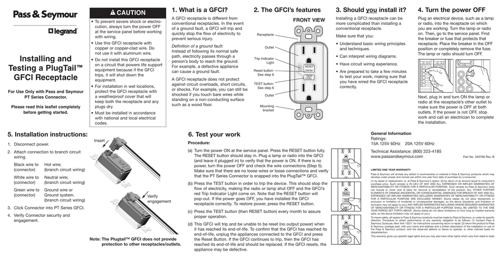 Installing And Testing A Plugtail Gfci Receptacle