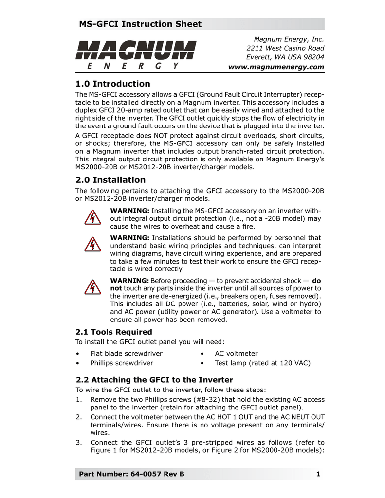 MS-GFCI Instruction Sheet 1.0 Introduction 2.0 Installation on newmar inverter wiring, magnum battery wiring, enphase inverter wiring, inverter charger wiring,