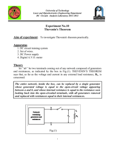 Experiment No.10 Thevenin`s Theorem Apparatus Theory