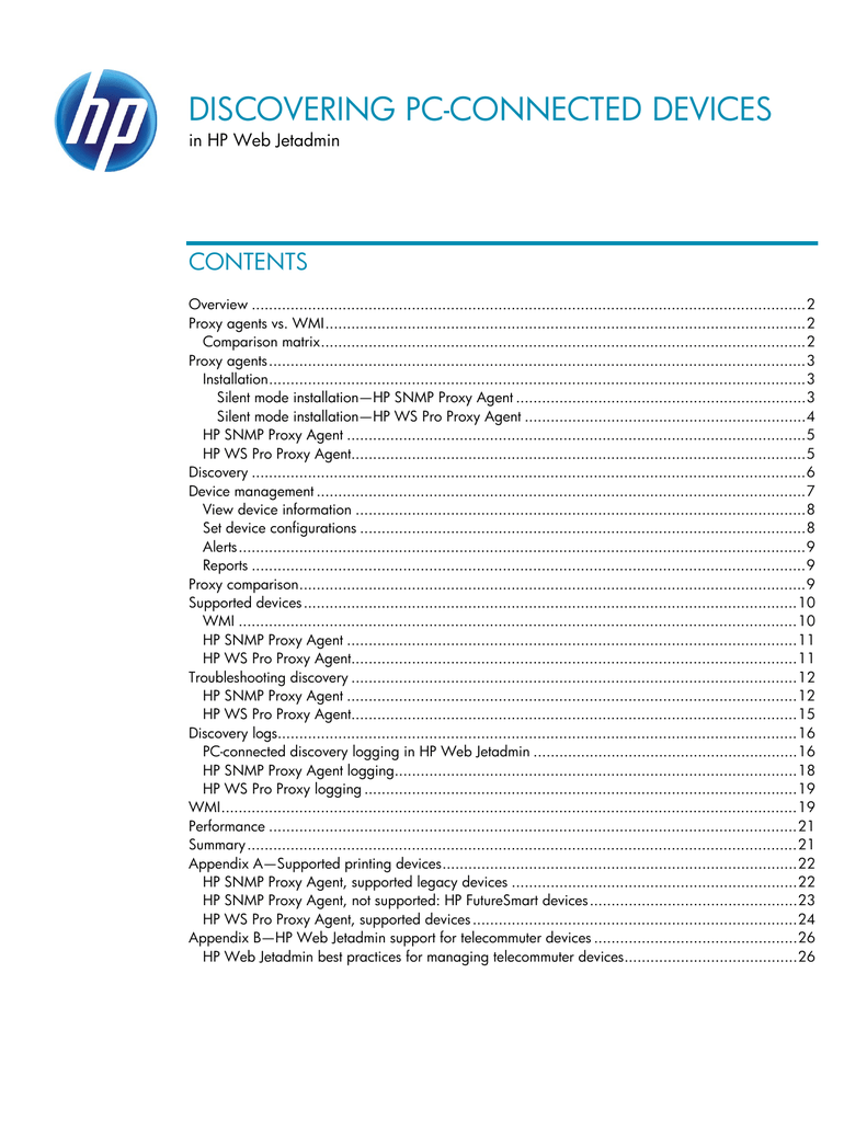 Discovering PC-connected Devices in HP Web Jetadmin