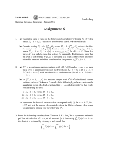 Statistical Inference Principles: Assignment 6