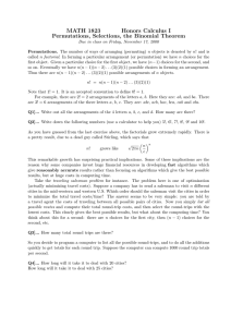 Permutations, Selections, the Binomial Theorem