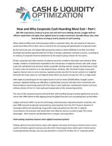 How and Why Corporate Cash Hoarding Must End – Part I