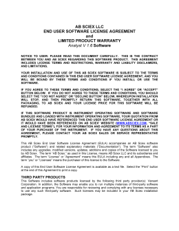 AB SCIEX LLC END USER SOFTWARE LICENSE AGREEMENT