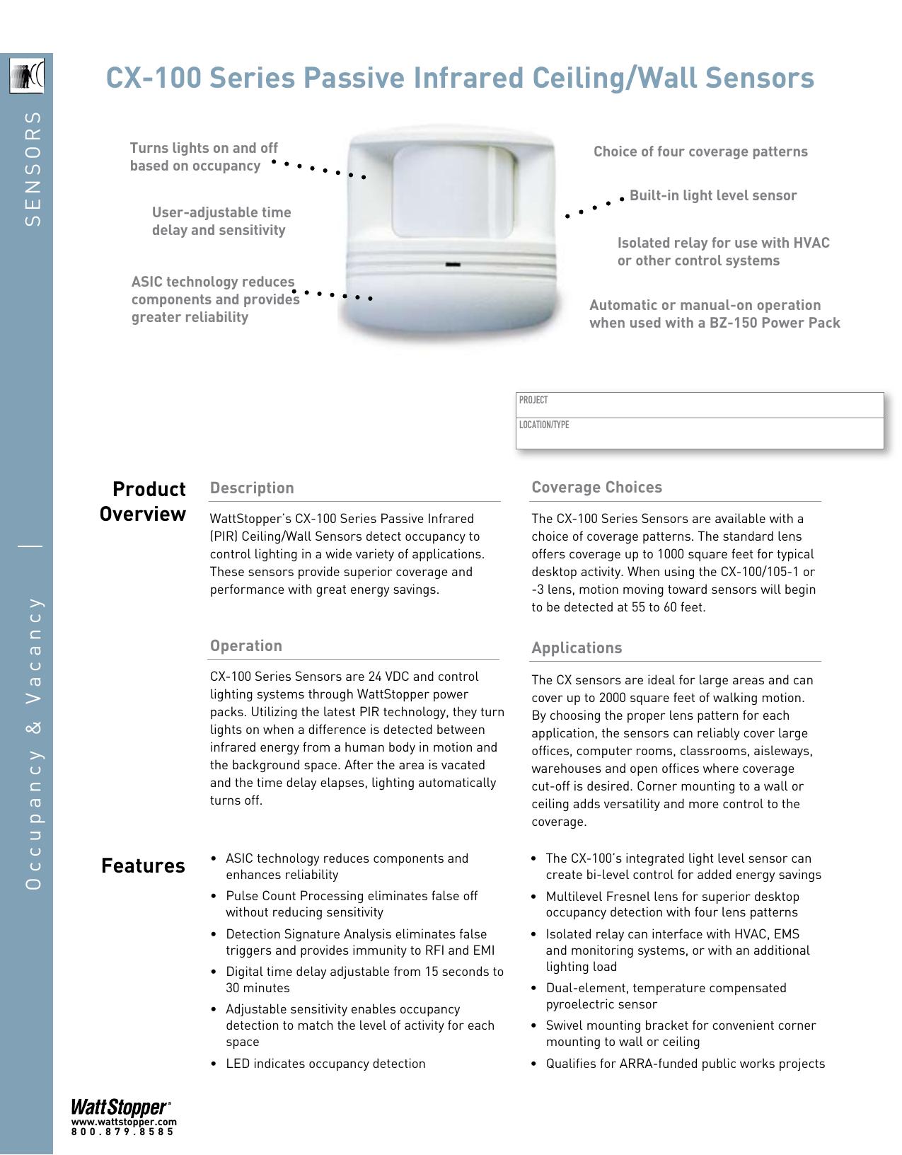 Watt Stopper CX-100 Occupancy Sensor Passive Infrared PIR 24VDC WattStopper