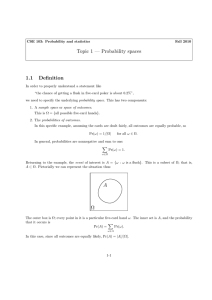 Topic 1 — Probability spaces 1.1 Definition Ω A