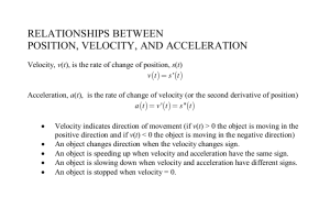 Relationships between Position, Velocity, and Acceleration