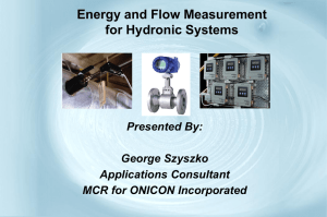 Energy and Flow Measurement for Hydronic Systems