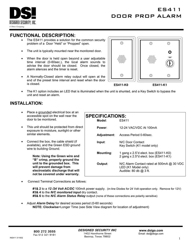 Es411 Door Prop Alarm 12 To 24 Volt Wiring Diagram 4 Prong 018137648 1 393fecfbc5f922a4ee7075923bae693b