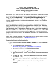 DFD Contractor Certification Application Instructions