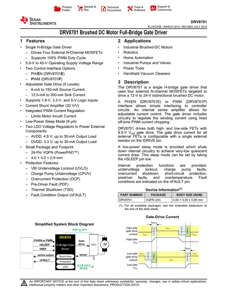 Drv8701 Texas Instruments Fet Overload Current Trip