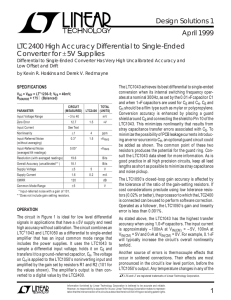 LTC2400 High Accuracy Differential to Single