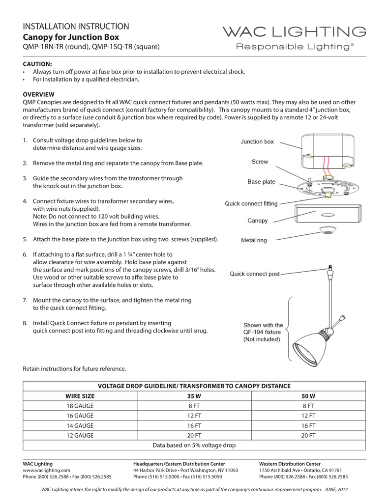 Installation Instruction Canopy For Junction Box Phone Wire Wiring Diagram