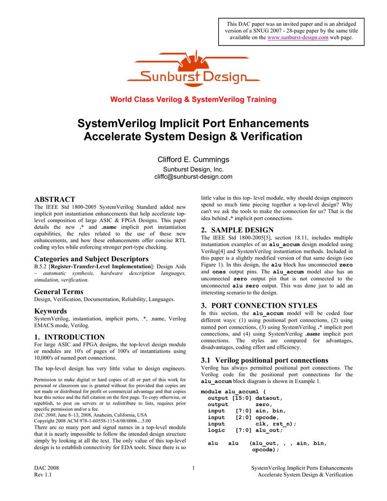 SystemVerilog Implicit Port Enhancements