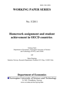 Homework assignment and student achievement in