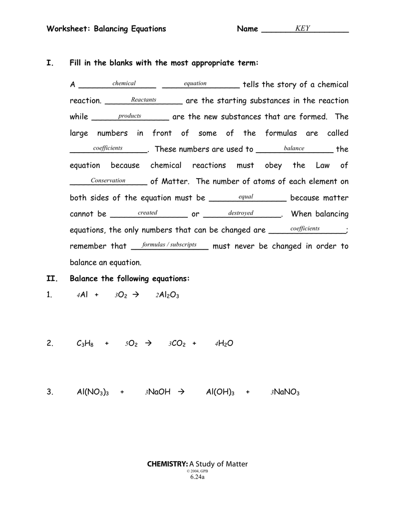 35 Balancing Equations Worksheet Answer Key - Worksheet ...