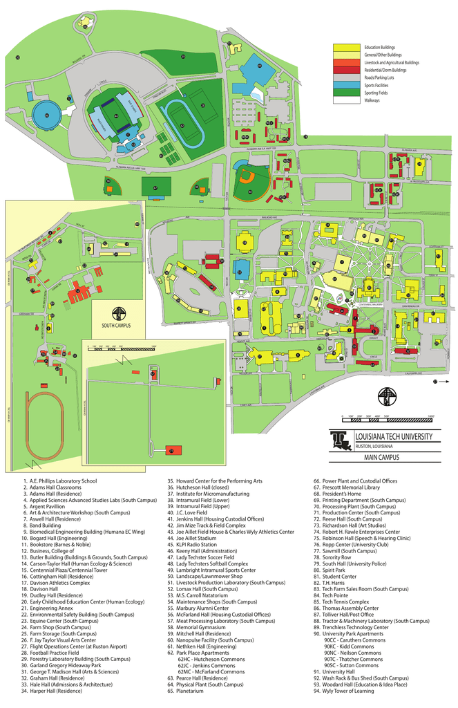 La Tech Campus Map Campus Map   Louisiana Tech University