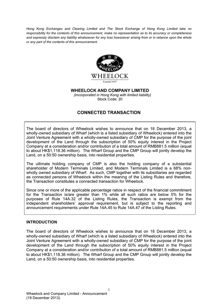 Wheelock And Company Limited Connected Transaction